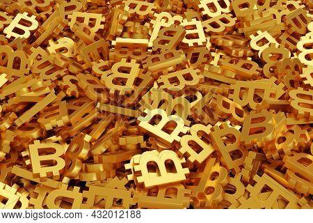 Golden Bitcoin Symbols Background. Btc. 3d Illustration.