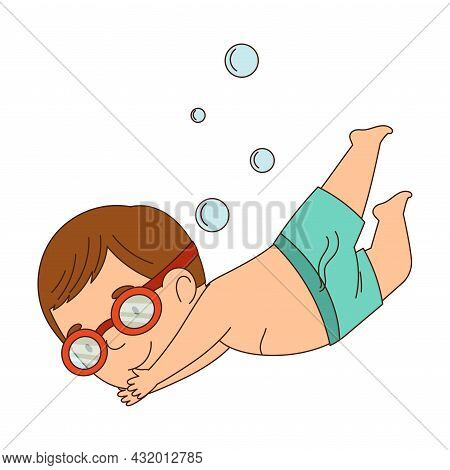 Little Boy In Trunks And Goggles Swimming In Water Vector Illustration