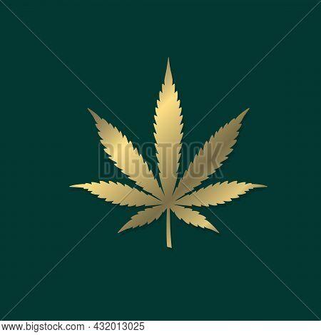Cannabis Leaf Golden Shape Silhouette Vector Icon. Marijuana Medicine Cannabis Sign Hash, Ganja Cbd