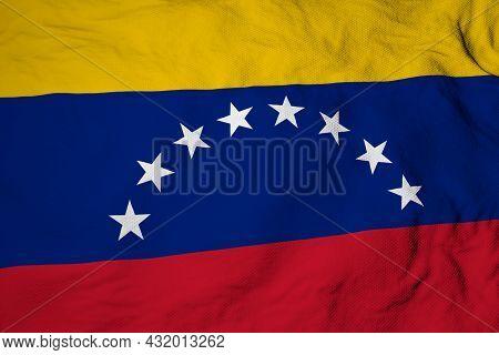 Full Frame Close-up On A Waving Venezuelian Flag In 3d Rendering.