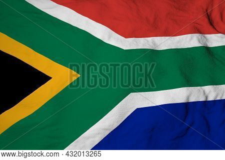 Full Frame Close-up On A Waving South African Flag In 3d Rendering.
