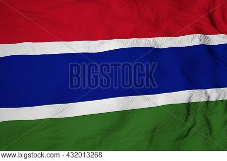 Full Frame Close-up On A Waving Gambian Flag In 3d Rendering.