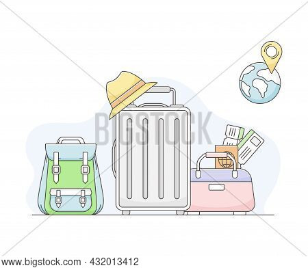 Travelling Around The World And Journey To Foreign Country For Vacation With Packed Suitcase And Bac