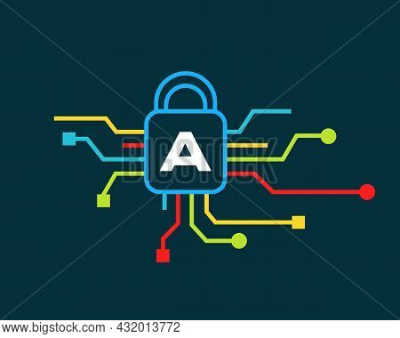 Cyber Security Logo With A Letter Concept. A Letter Logo For Cyber Protection, Technology, Biotechno