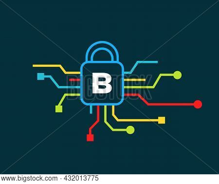 Cyber Security Logo With B Letter Concept. B Letter Logo For Cyber Protection, Technology, Biotechno