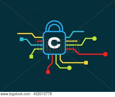Cyber Security Logo With C Letter Concept. C Letter Logo For Cyber Protection, Technology  And Biote
