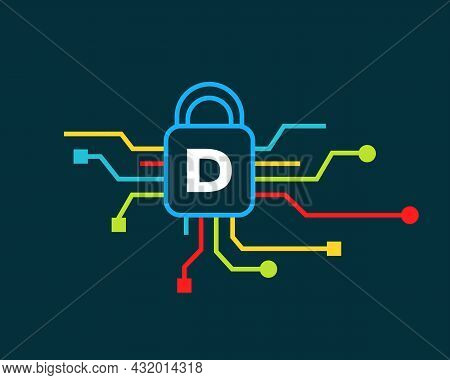 Cyber Security Logo With D Letter Concept. D Letter Logo For Cyber Protection, Technology  And Biote
