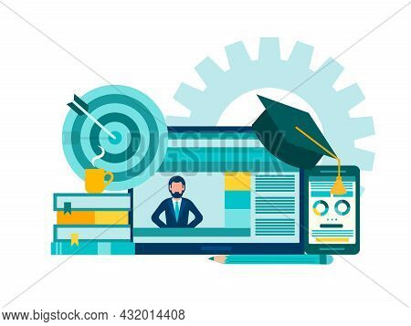 Online Courses, Distance Learning, Tutoring. Teacher On The Monitor Of The Gadget Teaches A Lesson O