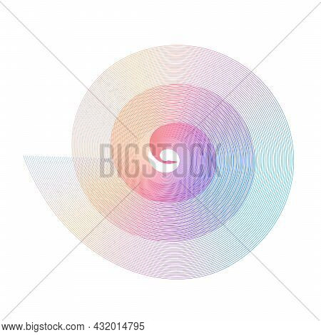 Abstract Fibonacci Spiral Rainbow Design Element Of Blend Lines. Golden Ratio Traditional Proportion