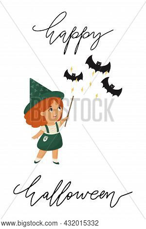 Cute Redhead Baby Witch With Magic Wand Vector Postcard