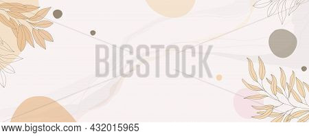 Botanical Set Of Pastel Vector Wall Art. Floral Foliage Drawing With Abstract Shape. Abstract Plant