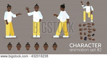 Young African Man Character Animation Set. Front, Side And Back View Guy Ready For Motion Design And