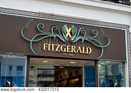 Cork, Ireland- July 14, 2021: The Sign For Fitzgerald Menswear Store In Cork City