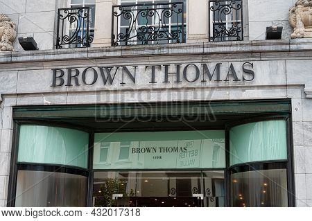 Cork, Ireland- July 14, 2021: The Sign For Brown Thomas Department Store In Cork City