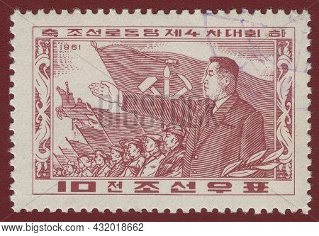 North Korea - Circa 1961: A Stamp Printed In North Korea Shows Kim Il Sung - The Founder Of The Dprk