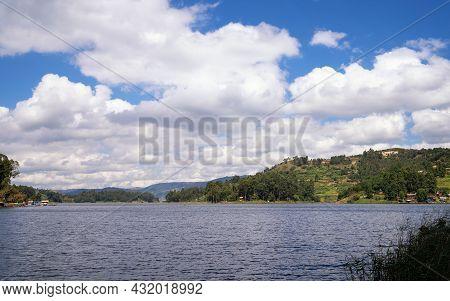 Panoramic Image Of Lake Bunyonyi, Uganda, Africa