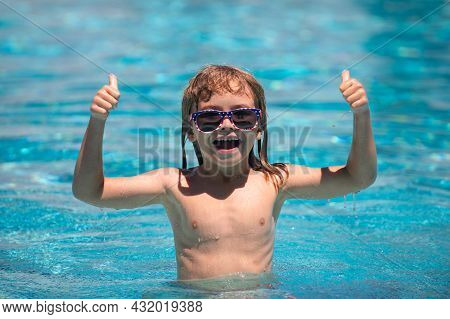 Activities Child On The Pool, Children Swimming And Playing In Water, Happiness Kids And Summertime.