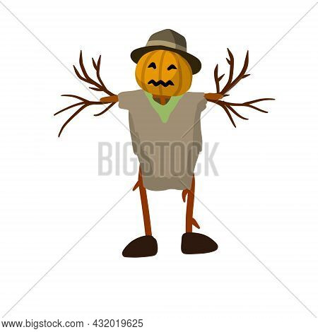 Scarecrow With A Pumpkin Head. A Fabulous Halloween Character.