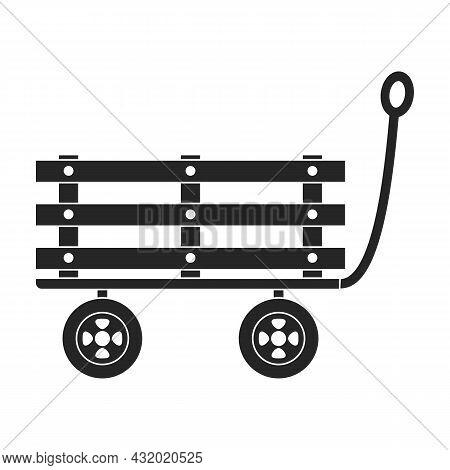 Garden Wagon Black Vector Icon.black Vector Illustration Wheelbarrow. Isolated Illustration Of Garde
