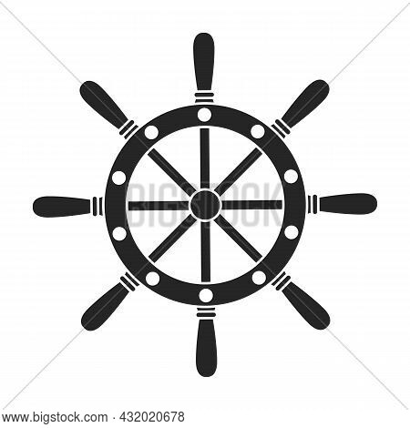 Ship Wheel Black Vector Of Icon.black Vector Icon Helm Of Ship. Isolated Illustration Of Wheel Boat