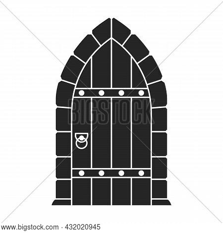 Medieval Door Vector Black Icon. Vector Illustration Castle Doors On White Background. Isolated Blac