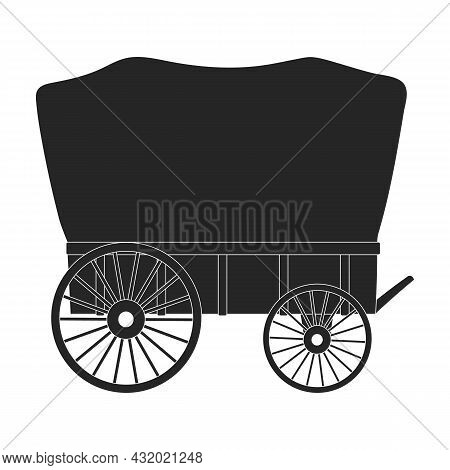 Wild West Wagon Black Vector Icon.black Vector Illustration Old Carriage. Isolated Illustration Of W