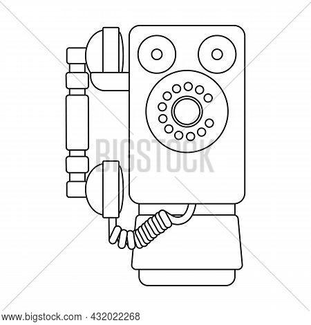 Retro Phone Vector Icon.outline Vector Icon Isolated On White Background Retro Phone.