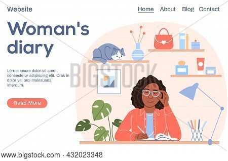 Attractive Black Woman Writes Diary Landing Page Template. Young Flat Sitting Afro Girl Portrait Wit