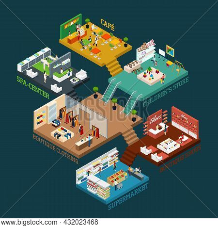 Shopping Mall Isometric Scheme With Different Floors And Areas And Flat Icons Of People Goods And In