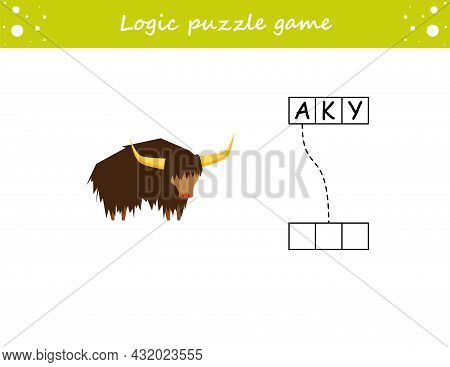 Logic Puzzle Game. Learning Words Yak In English. Find The Hidden Name. Activity Page For Study Engl