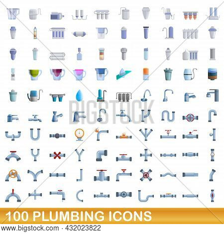 100 Plumbing Icons Set. Cartoon Illustration Of 100 Plumbing Icons Vector Set Isolated On White Back