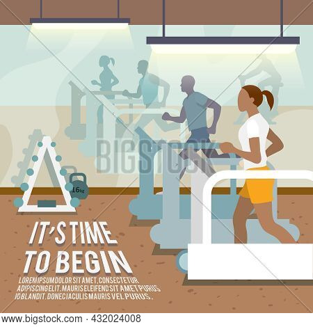 People Training On Treadmills In Gymnasium Fitness Lifestyle Time To Begin Poster Vector Illustratio