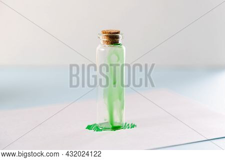 Greenwashing Concept. Green Paint And Cosmetics Bottle. Environmental Marketing Disinformation. Non