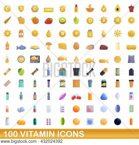100 Vitamin Icons Set. Cartoon Illustration Of 100 Vitamin Icons Vector Set Isolated On White Backgr