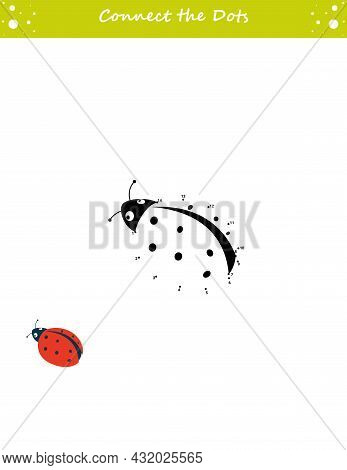 We Draw A Ladybug. Dot To Dot. Draw A Line. Game For Toddler. Learning Numbers For Kid. Education De