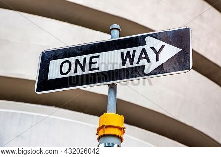 One Way Sign In New York City, Ny, Usa