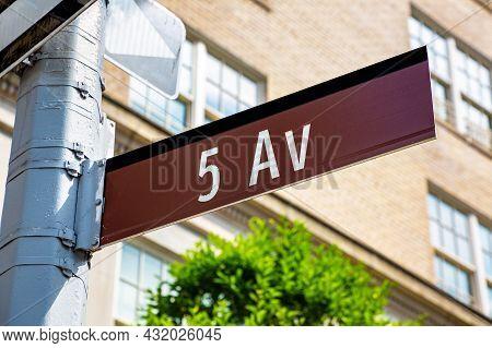 Fifth Avenue Street Sign In New York City, Ny, Usa