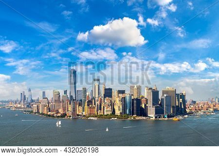 Panoramic Aerial View Of Manhattan In New York City, Ny, Usa