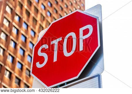 Stop Sign In Manhattan In New York City, Ny, Usa