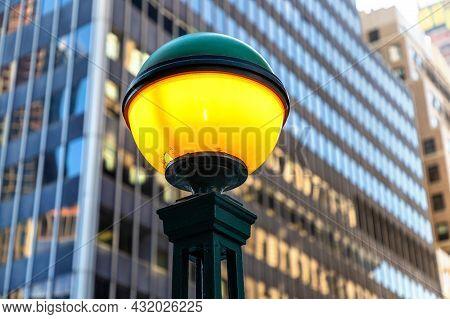 Subway Entrance Vintage Lamp In New York City, Ny, Usa