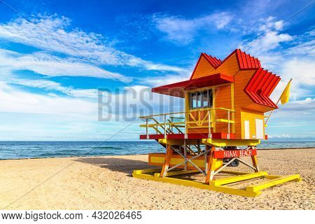 Lifeguard Tower In Miami Beach, South Beach In A Sunny Day, Florida