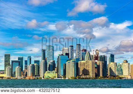 Panoramic View Of Toronto Cityscape  In A Sunny Day, Ontario, Canada