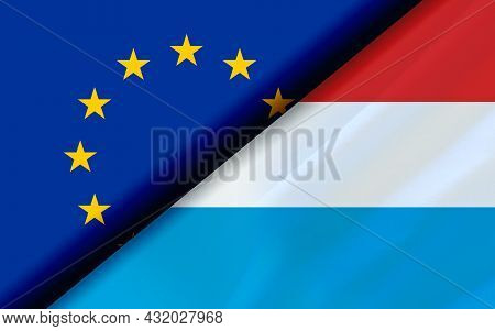Flags Of The Eu And Luxembourg Divided Diagonally. 3d Rendering