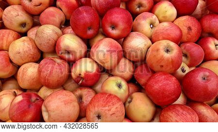 Group Of Red Apples. Close-up Red Apples Texture . Fresh Juicy Red Apples