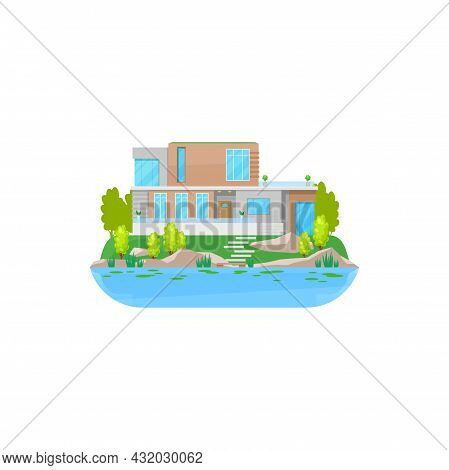House At Water, Building, Home Cottage Or Villa, Vector Modern Residential Estate. Isolated Flat Ico