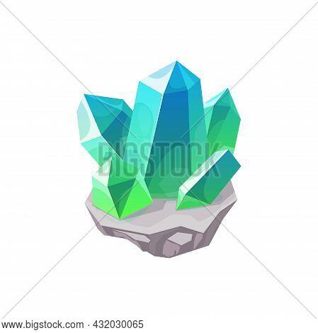 Crystal Gem, Gemstone Or Mineral Stone And Precious Jewel, Vector Isolated Icon. Diamond Or Quartz R