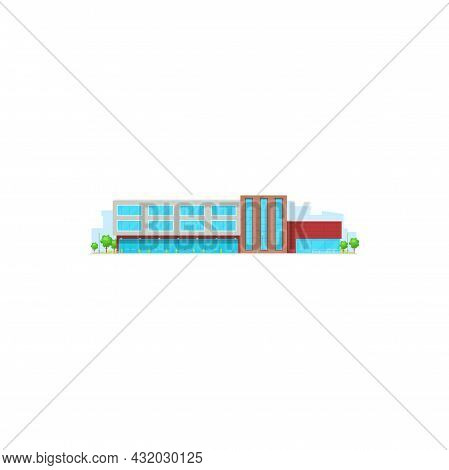 School Building Or College House Icon, Vector Exterior Front Entrance. High Or Middle School Or Univ