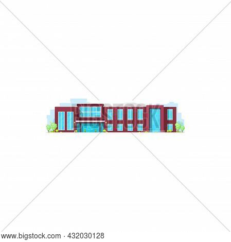 School College, University Campus Building, Flat Vector Icon Of Education House. Schoolhouse Or Pres