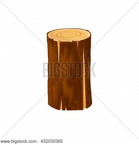 Round Log, Wood For Fire Or Campfire Isolated Flat Cartoon Icon. Vector Woodpile Bark Of Felled Dry