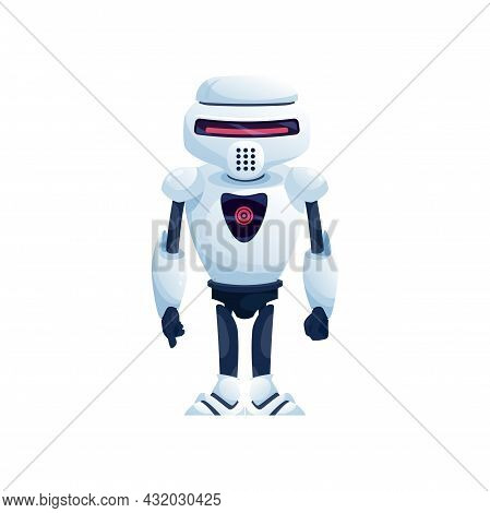 Virtual Android, Kids Toy Isolated White Digital Robot. Vector Robot In Helmet, Futuristic Friendly
